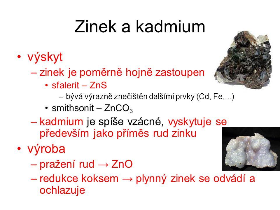 Zinek a kadmium výskyt –zinek je poměrně hojně zastoupen sfalerit – ZnS –bývá výrazně znečištěn dalšími prvky (Cd, Fe,...) smithsonit – ZnCO 3 –kadmiu