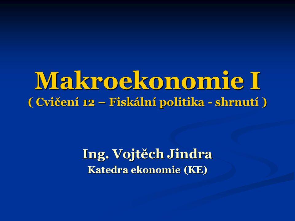 Makroekonomie I ( Cvičení 12 – Fiskální politika - shrnutí ) Ing. Vojtěch Jindra Katedra ekonomie (KE)