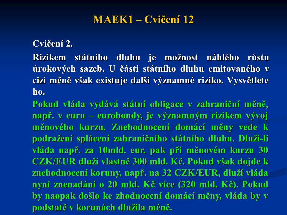MAEK1 – Cvičení 12 Cvičení 2. Rizikem státního dluhu je možnost náhlého růstu úrokových sazeb. U části státního dluhu emitovaného v cizí měně však exi