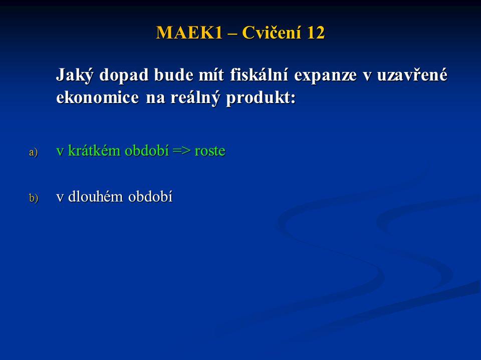 MAEK1 – Cvičení 12 Jaký dopad bude mít fiskální expanze v uzavřené ekonomice na reálný produkt: a) v krátkém období => roste b) v dlouhém období