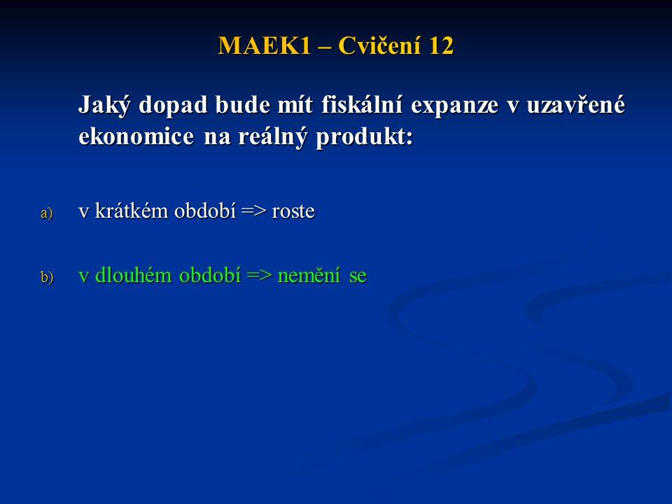 MAEK1 – Cvičení 12 Jaký dopad bude mít fiskální expanze v uzavřené ekonomice na reálný produkt: a) v krátkém období => roste b) v dlouhém období => ne