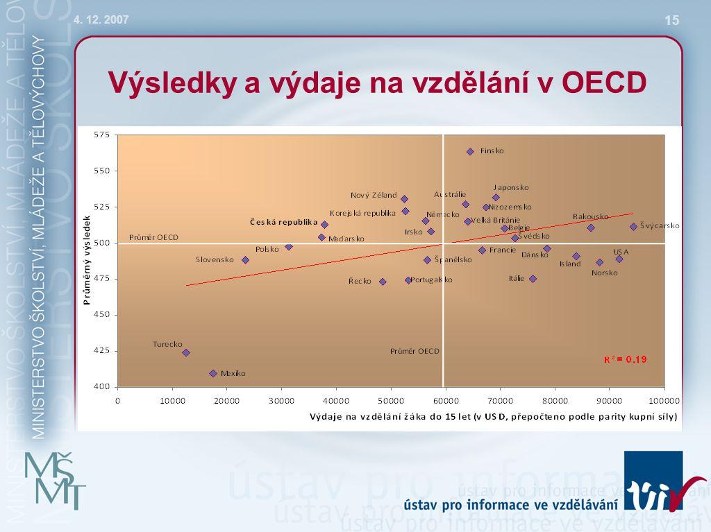 4. 12. 2007 15 Výsledky a výdaje na vzdělání v OECD