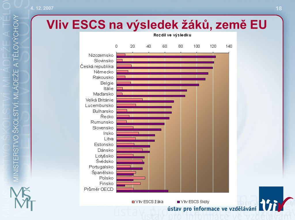 4. 12. 2007 18 Vliv ESCS na výsledek žáků, země EU