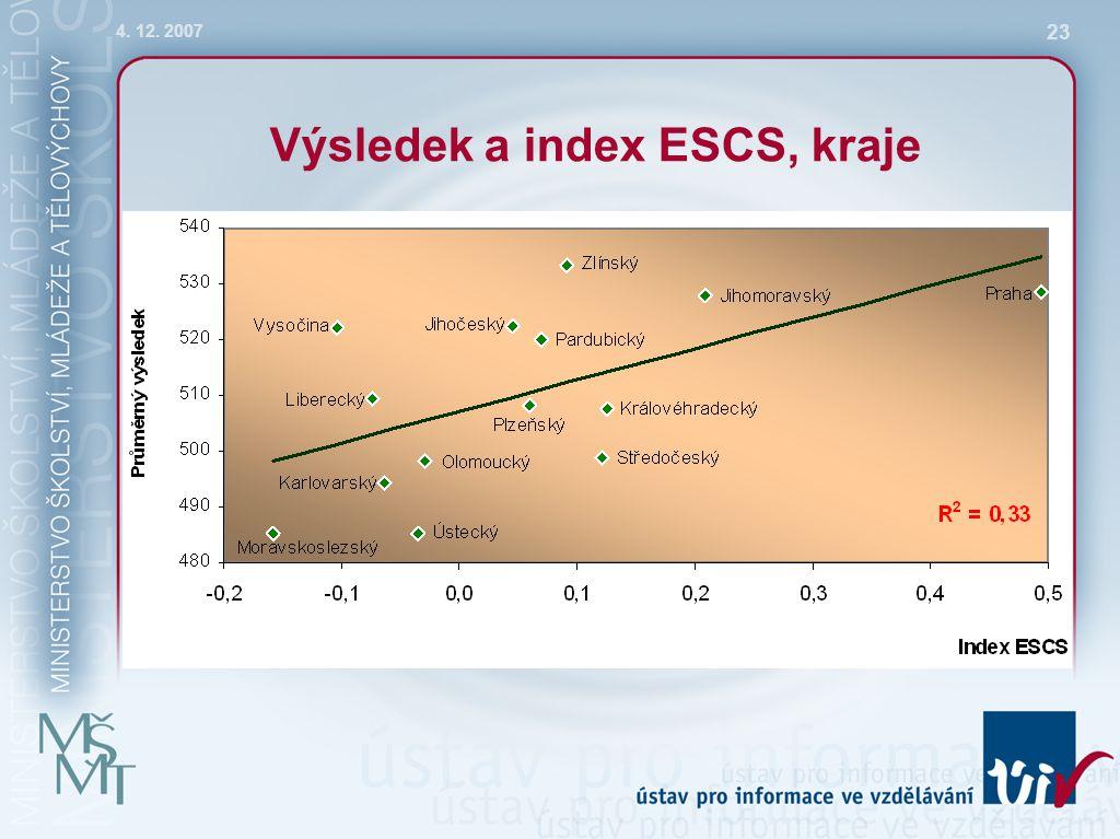 4. 12. 2007 23 Výsledek a index ESCS, kraje