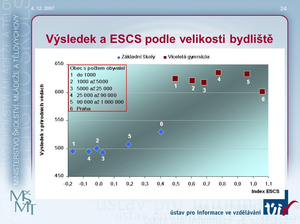 4. 12. 2007 24 Výsledek a ESCS podle velikosti bydliště