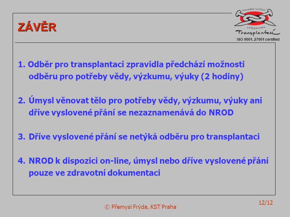 © Přemysl Frýda, KST Praha 12/12 ISO 9001, 27001 certified ZÁVĚR 1. Odběr pro transplantaci zpravidla předchází možnosti odběru pro potřeby vědy, výzk