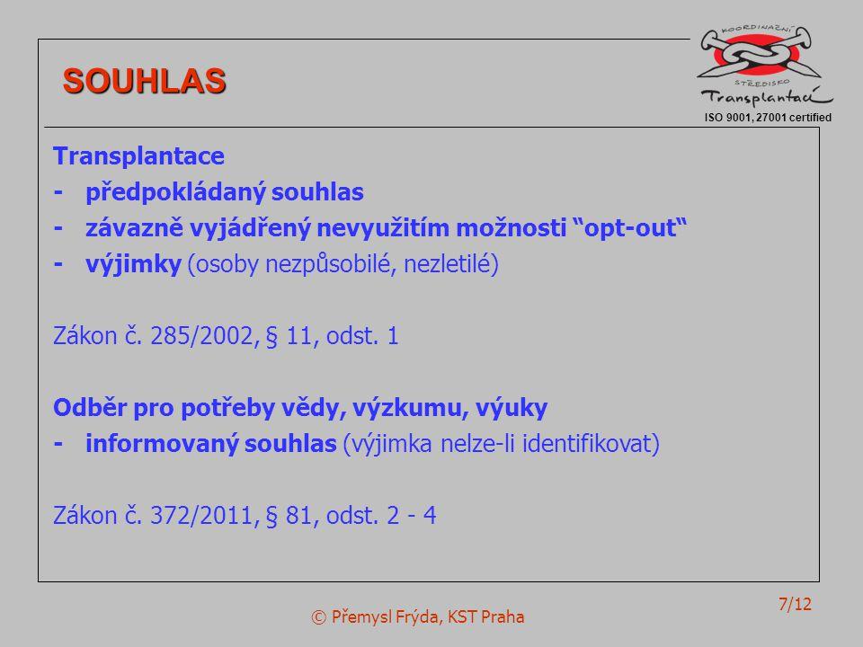 © Přemysl Frýda, KST Praha 7/12 ISO 9001, 27001 certified SOUHLAS SOUHLAS Transplantace - předpokládaný souhlas - závazně vyjádřený nevyužitím možnost