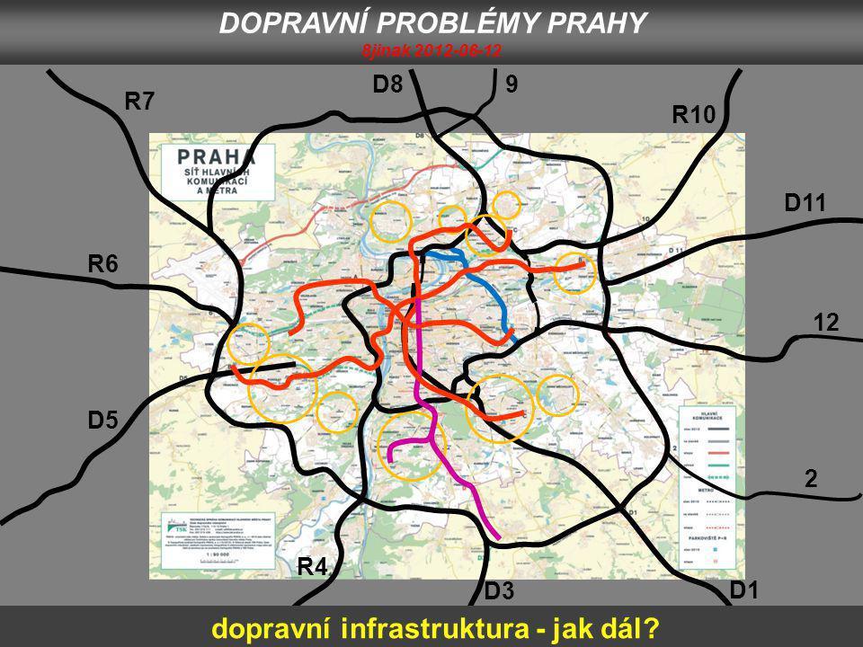 D1 2 12 D11 R10 9D8 R7 R6 D5 D3 R4 DOPRAVNÍ PROBLÉMY PRAHY 8jinak 2012-06-12 dopravní infrastruktura - jak dál