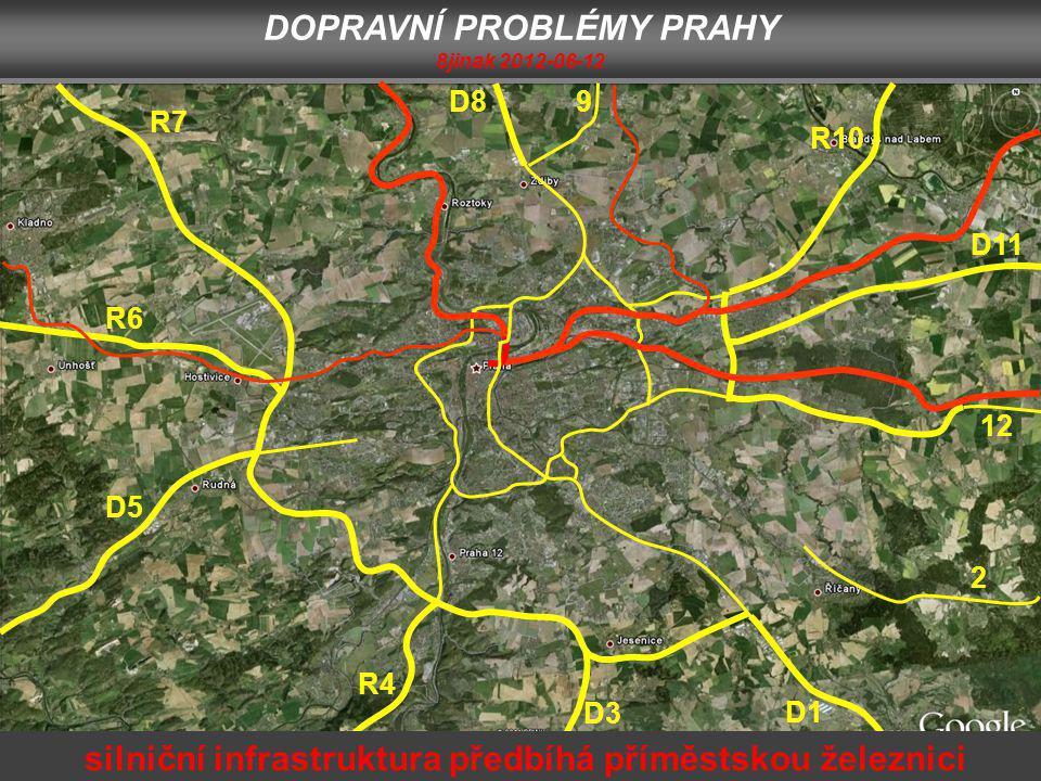 D1 2 12 D11 R10 9D8 R7 R6 D5 R4 D3 silniční infrastruktura předbíhá příměstskou železnici DOPRAVNÍ PROBLÉMY PRAHY 8jinak 2012-06-12
