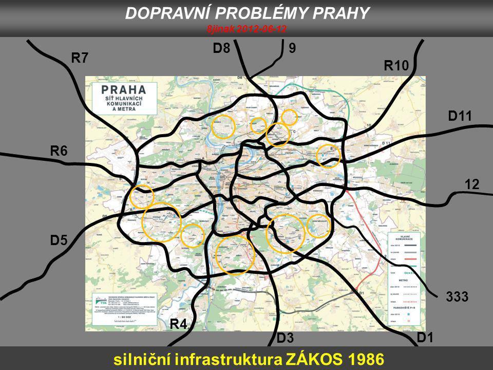 D1 333 12 D11 R10 9D8 R7 R6 D5 D3 silniční infrastruktura ZÁKOS 1986 R4 DOPRAVNÍ PROBLÉMY PRAHY 8jinak 2012-06-12