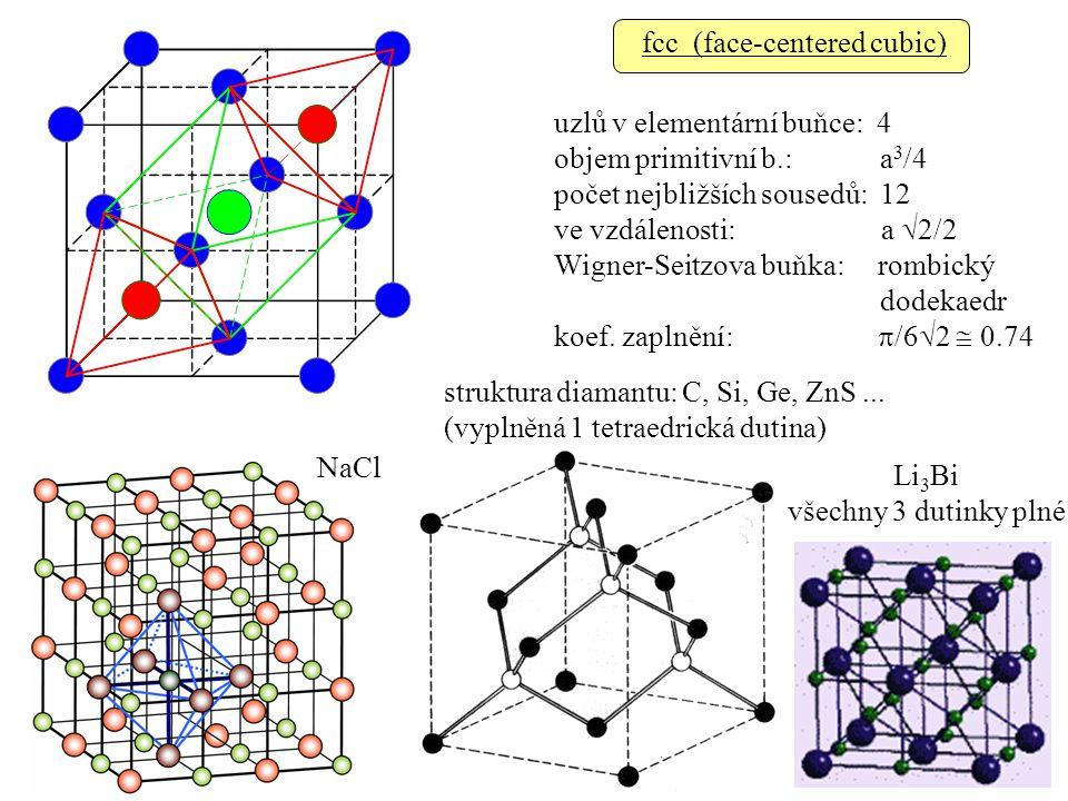 fcc (face-centered cubic) uzlů v elementární buňce: 4 objem primitivní b.: a 3 /4 počet nejbližších sousedů: 12 ve vzdálenosti: a  2/2 Wigner-Seitzova buňka: rombický dodekaedr koef.