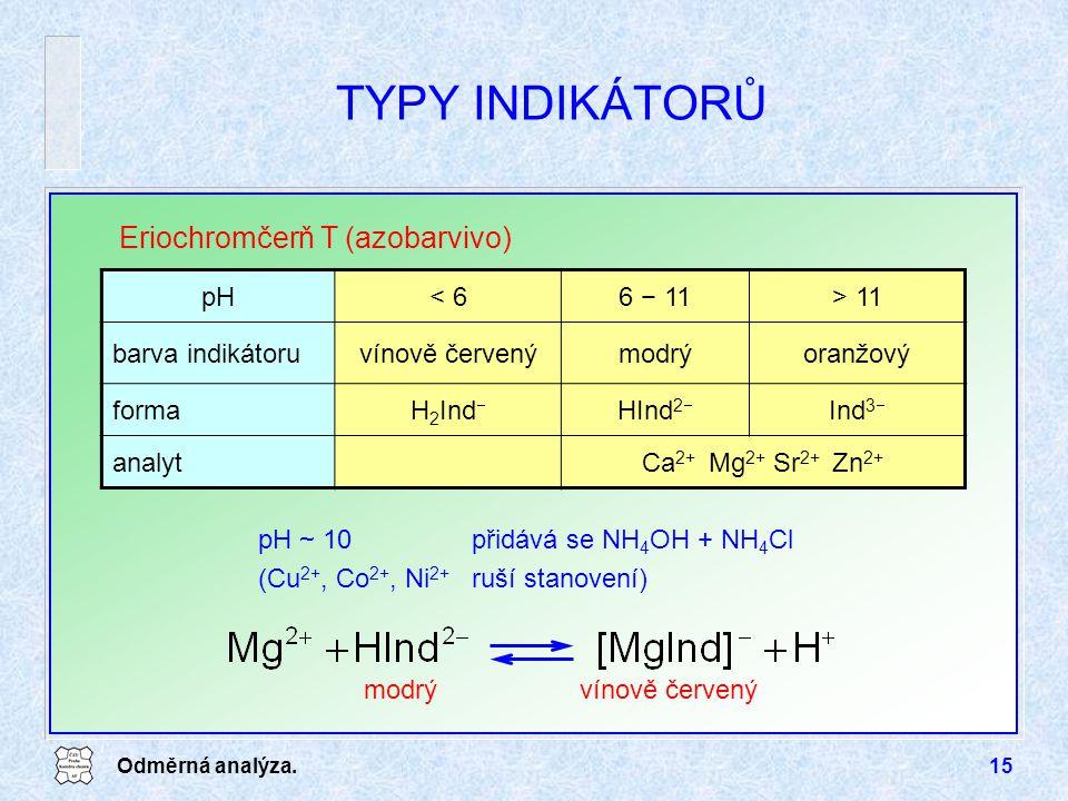 Odměrná analýza.15 TYPY INDIKÁTORŮ Eriochromčerň T (azobarvivo) pH< 66 − 11> 11 barva indikátoruvínově červenýmodrýoranžový formaH 2 Ind  HInd 2  In