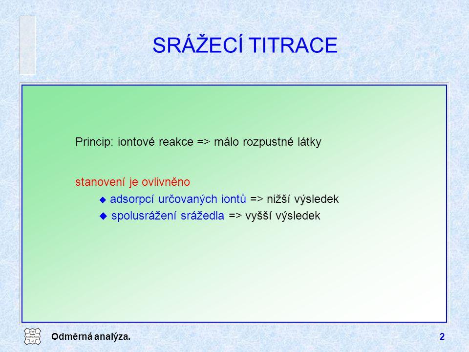 Odměrná analýza.2 SRÁŽECÍ TITRACE Princip: iontové reakce => málo rozpustné látky stanovení je ovlivněno u adsorpcí určovaných iontů => nižší výsledek u spolusrážení srážedla => vyšší výsledek
