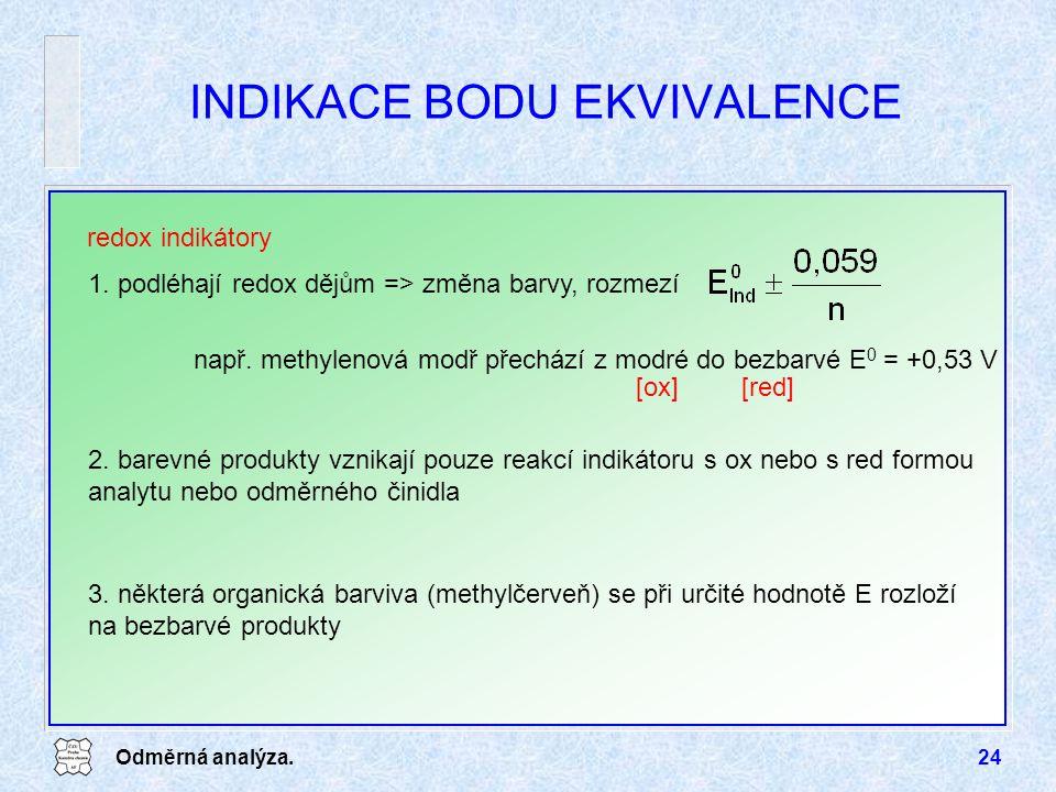Odměrná analýza.24 1. podléhají redox dějům => změna barvy, rozmezí např. methylenová modř přechází z modré do bezbarvé E 0 = +0,53 V INDIKACE BODU EK