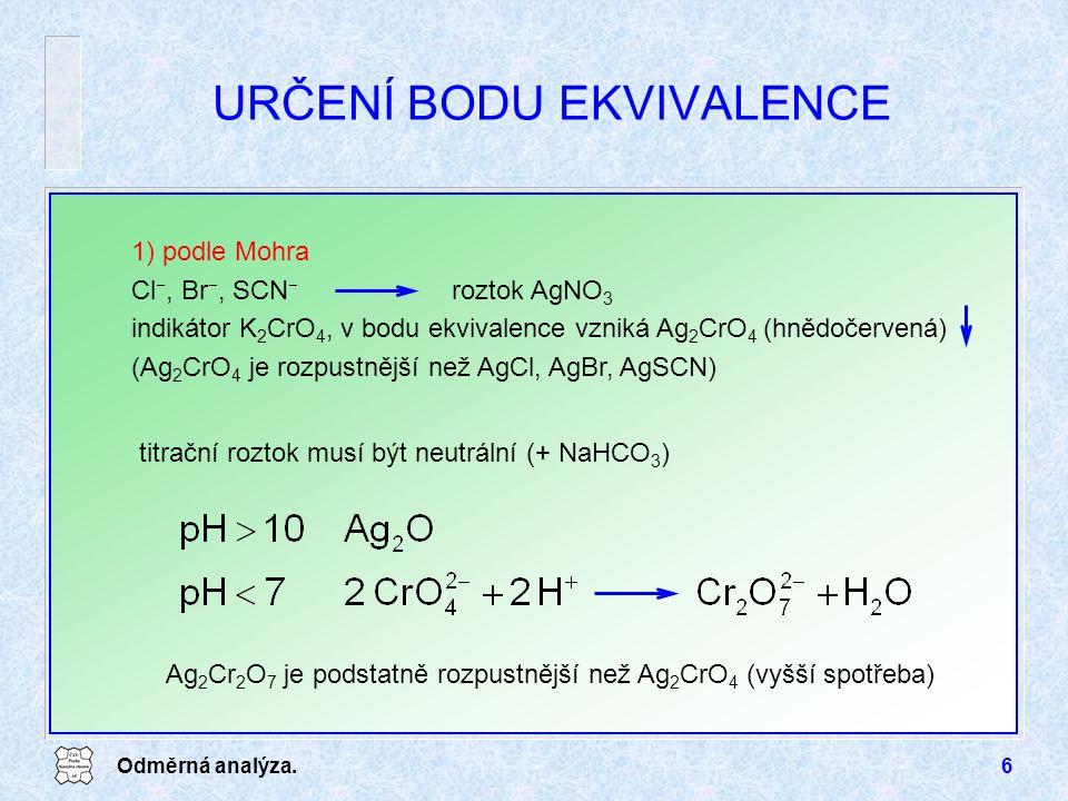 Odměrná analýza.6 URČENÍ BODU EKVIVALENCE 1) podle Mohra Cl , Br , SCN  roztok AgNO 3 indikátor K 2 CrO 4, v bodu ekvivalence vzniká Ag 2 CrO 4 (hnědočervená) (Ag 2 CrO 4 je rozpustnější než AgCl, AgBr, AgSCN) titrační roztok musí být neutrální (+ NaHCO 3 ) Ag 2 Cr 2 O 7 je podstatně rozpustnější než Ag 2 CrO 4 (vyšší spotřeba)