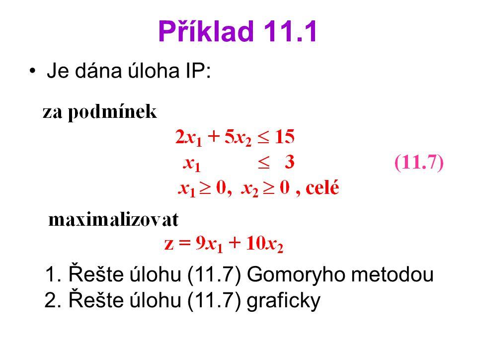 Příklad 11.1 Je dána úloha IP: 1. Řešte úlohu (11.7) Gomoryho metodou 2. Řešte úlohu (11.7) graficky