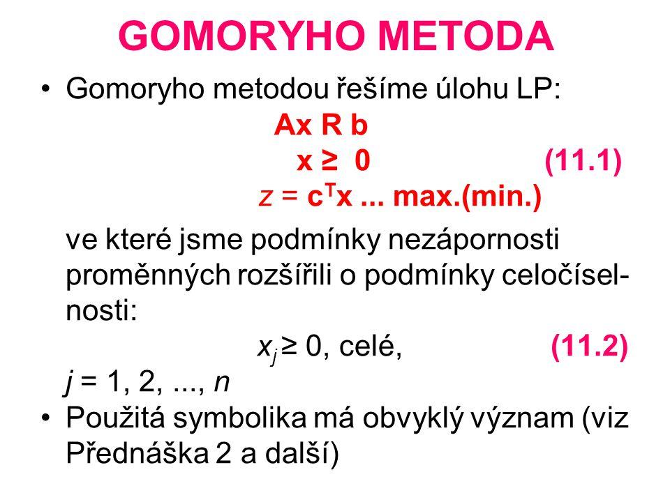 ALGORITMUS METODY 1.Vypočteme optimální řešení úlohy LP bez ohledu na podmínky celočíselnosti 2.
