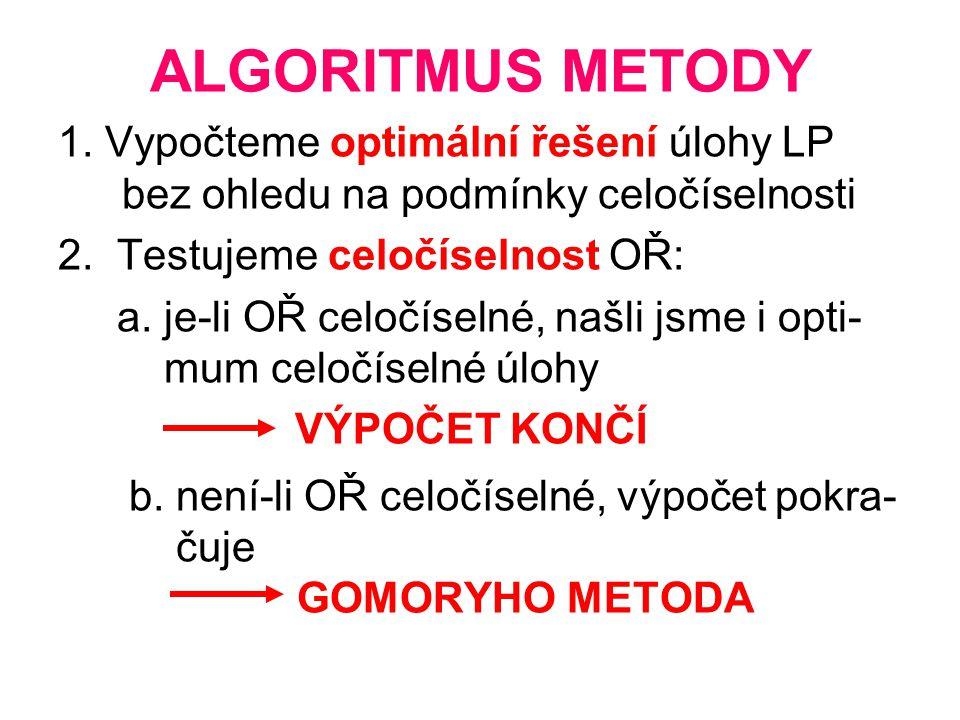 ALGORITMUS METODY 1. Vypočteme optimální řešení úlohy LP bez ohledu na podmínky celočíselnosti 2. Testujeme celočíselnost OŘ: a. je-li OŘ celočíselné,