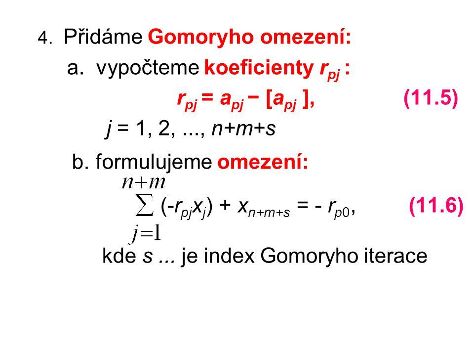 4. Přidáme Gomoryho omezení: a. vypočteme koeficienty r pj : r pj = a pj − [a pj ], (11.5) j = 1, 2,..., n+m+s b. formulujeme omezení: (-r pj x j ) +