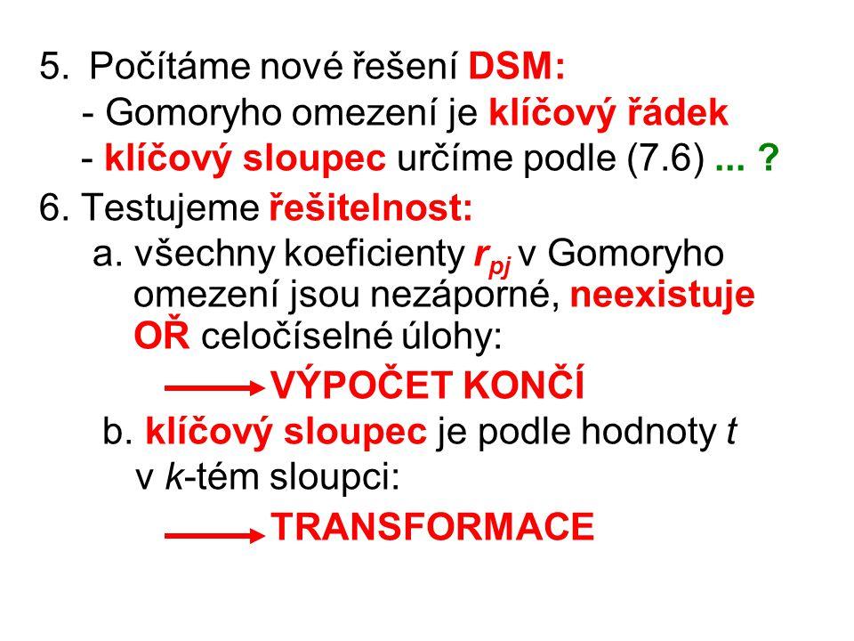 5. Počítáme nové řešení DSM: - Gomoryho omezení je klíčový řádek - klíčový sloupec určíme podle (7.6)... ? 6. Testujeme řešitelnost: a. všechny koefic