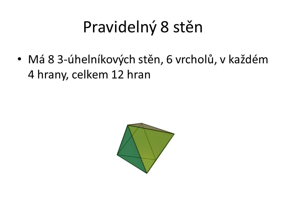 Pravidelný 8 stěn Má 8 3-úhelníkových stěn, 6 vrcholů, v každém 4 hrany, celkem 12 hran