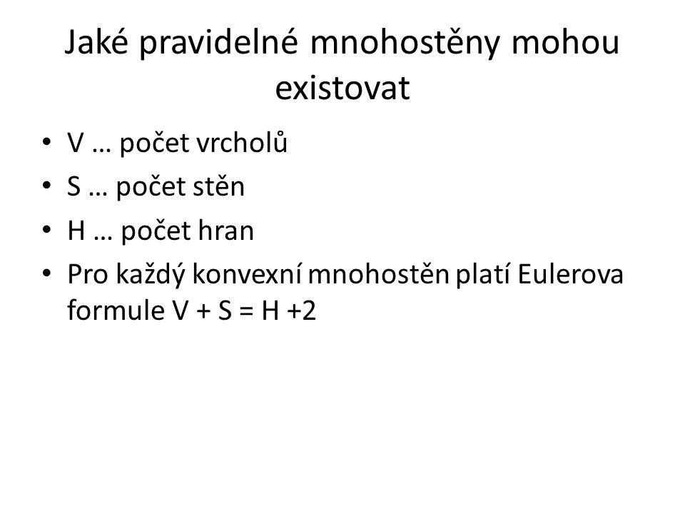Jaké pravidelné mnohostěny mohou existovat V … počet vrcholů S … počet stěn H … počet hran Pro každý konvexní mnohostěn platí Eulerova formule V + S =