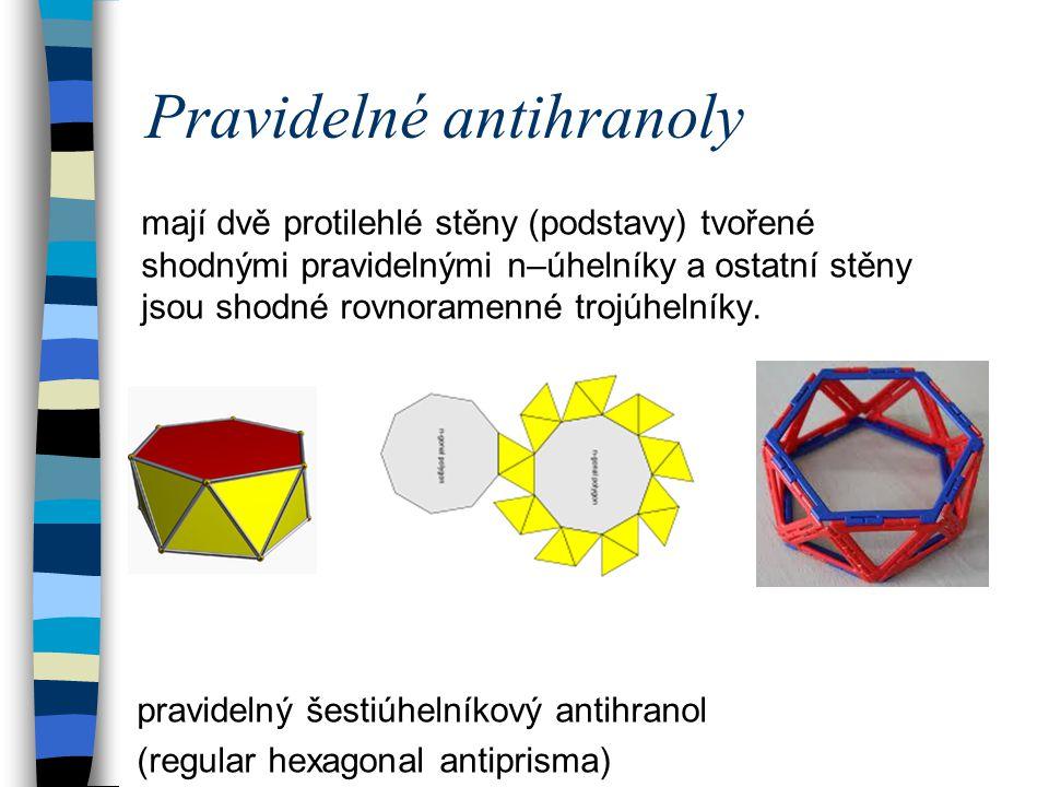 Pravidelné antihranoly mají dvě protilehlé stěny (podstavy) tvořené shodnými pravidelnými n–úhelníky a ostatní stěny jsou shodné rovnoramenné trojúhel