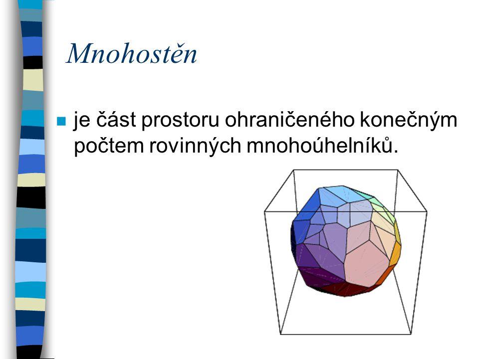Mnohostěn n je část prostoru ohraničeného konečným počtem rovinných mnohoúhelníků.