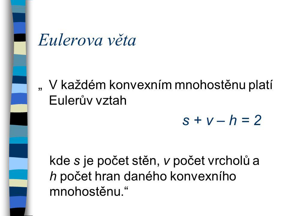 """Eulerova věta """"V každém konvexním mnohostěnu platí Eulerův vztah s + v – h = 2 kde s je počet stěn, v počet vrcholů a h počet hran daného konvexního m"""
