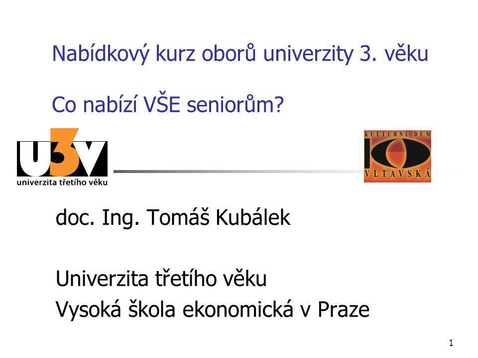 1 Nabídkový kurz oborů univerzity 3.věku Co nabízí VŠE seniorům.