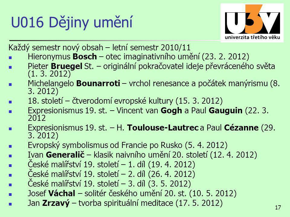 17 U016 Dějiny umění Každý semestr nový obsah – letní semestr 2010/11 Hieronymus Bosch – otec imaginativního umění (23.