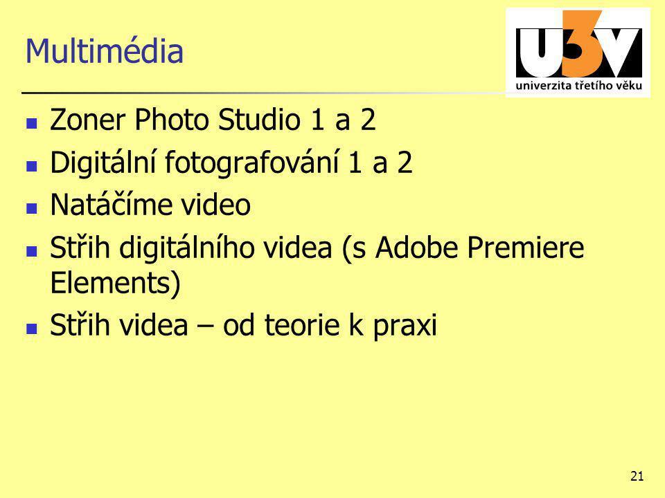 21 Multimédia Zoner Photo Studio 1 a 2 Digitální fotografování 1 a 2 Natáčíme video Střih digitálního videa (s Adobe Premiere Elements) Střih videa –