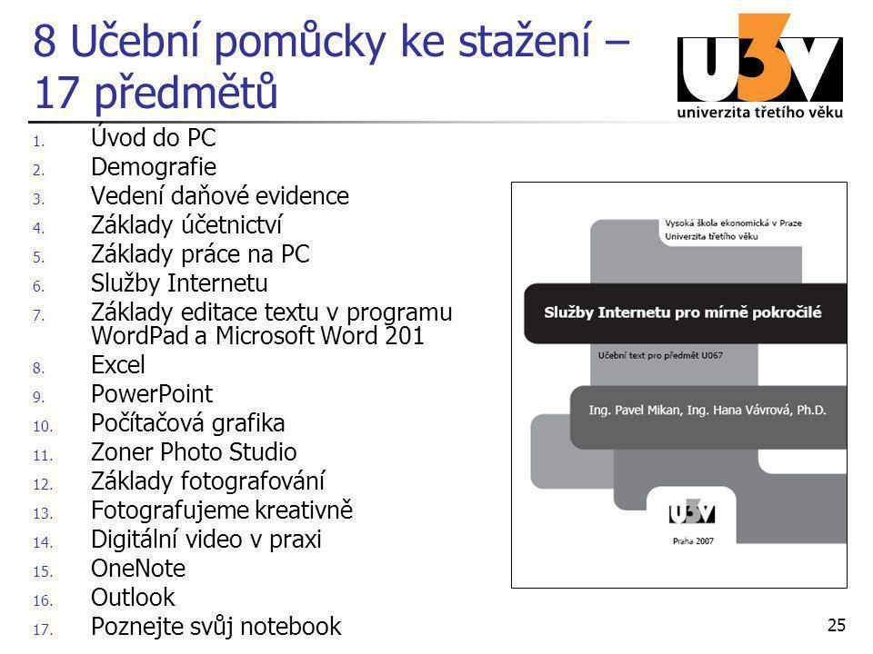 25 8 Učební pomůcky ke stažení – 17 předmětů 1. Úvod do PC 2. Demografie 3. Vedení daňové evidence 4. Základy účetnictví 5. Základy práce na PC 6. Slu