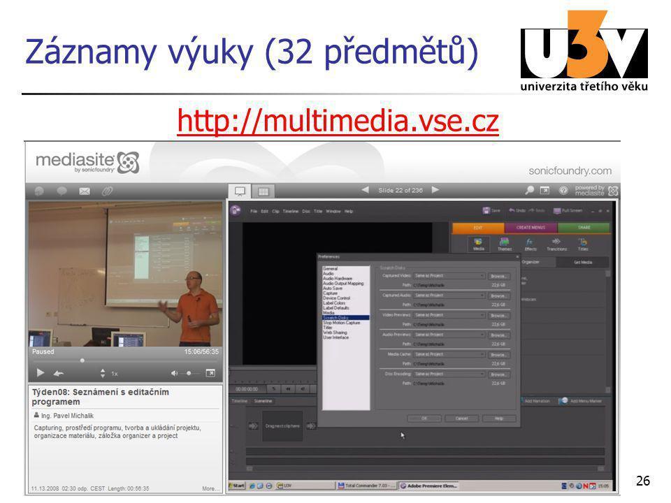 26 Záznamy výuky (32 předmětů) http://multimedia.vse.cz