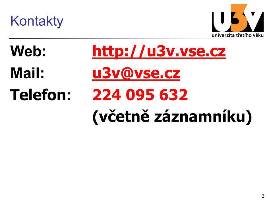7 Mimosemestrální kurzy 24.– 25. 5. 2012 U079 Facebook (9:15 – 14:15) 28.
