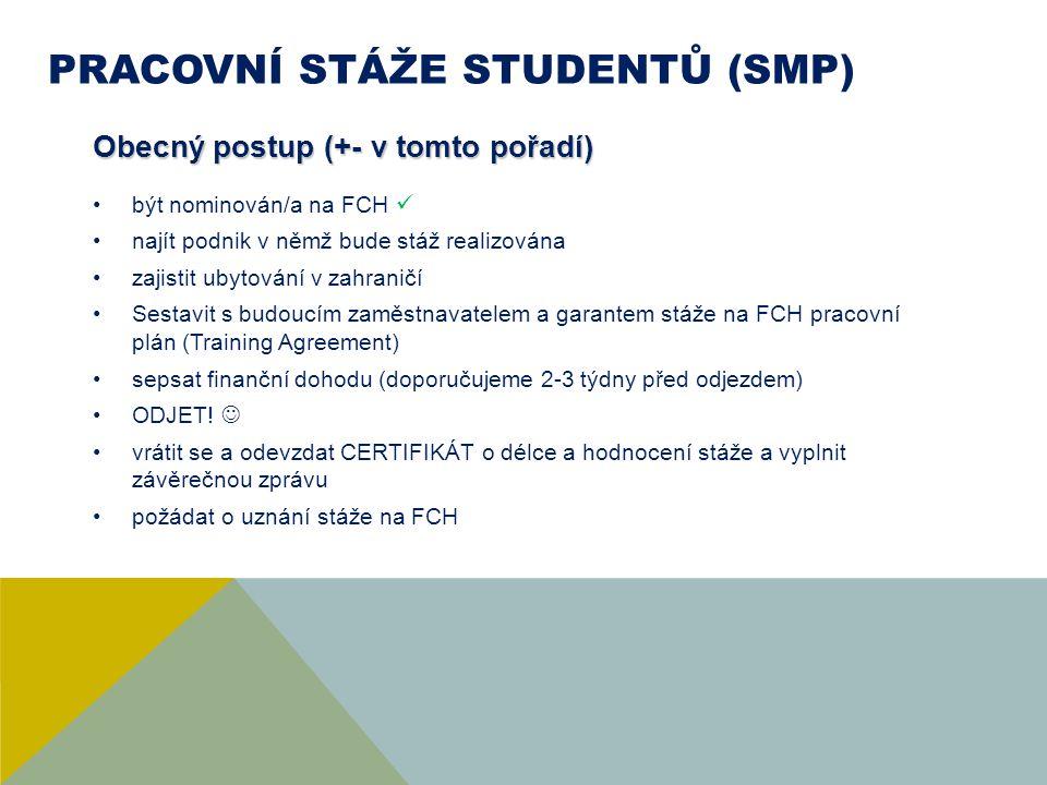 PRACOVNÍ STÁŽE STUDENTŮ (SMP) Obecný postup (+- v tomto pořadí) být nominován/a na FCH najít podnik v němž bude stáž realizována zajistit ubytování v