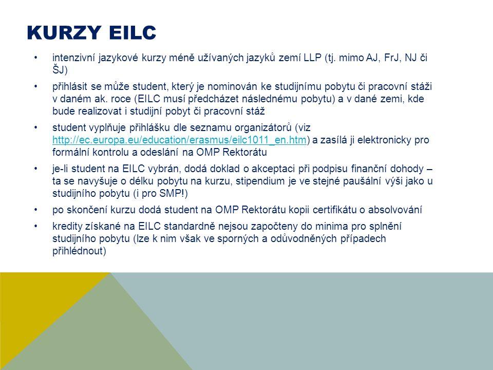 KURZY EILC intenzivní jazykové kurzy méně užívaných jazyků zemí LLP (tj. mimo AJ, FrJ, NJ či ŠJ) přihlásit se může student, který je nominován ke stud