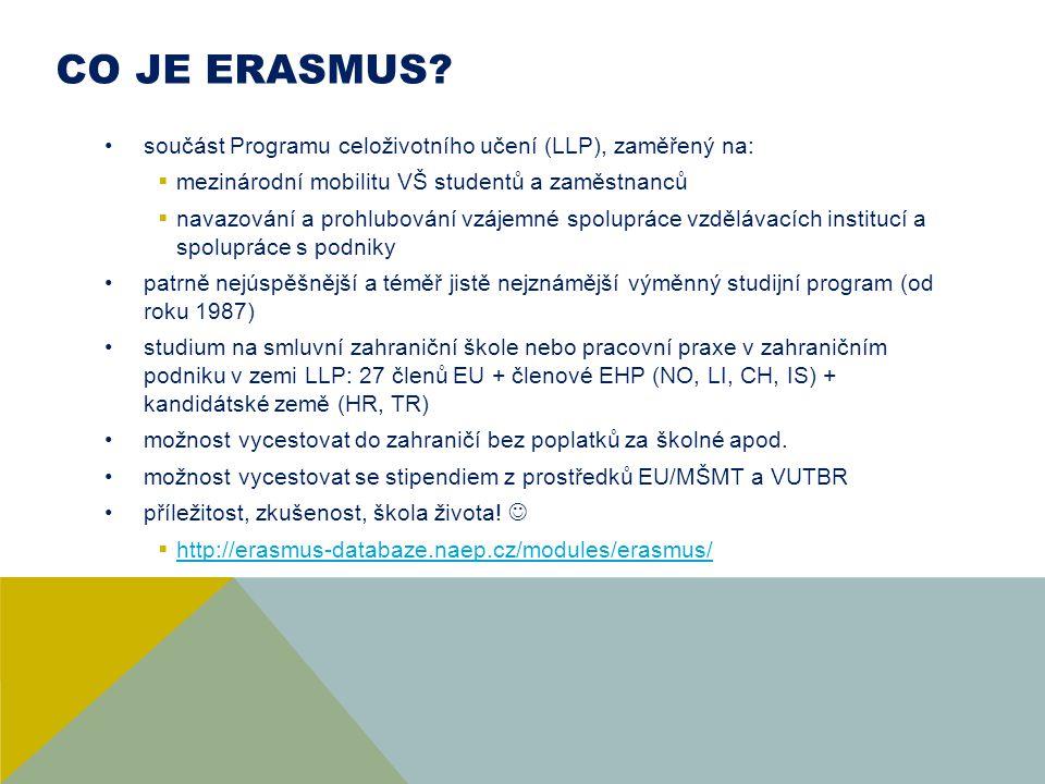 CO JE ERASMUS? součást Programu celoživotního učení (LLP), zaměřený na:  mezinárodní mobilitu VŠ studentů a zaměstnanců  navazování a prohlubování v