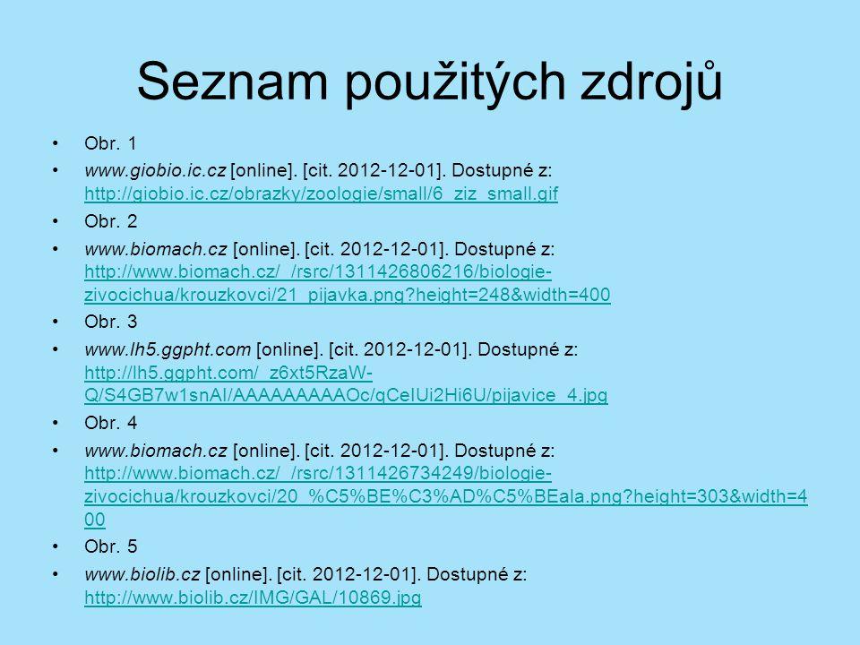 Seznam použitých zdrojů Obr. 1 www.giobio.ic.cz [online]. [cit. 2012-12-01]. Dostupné z: http://giobio.ic.cz/obrazky/zoologie/small/6_ziz_small.gif ht