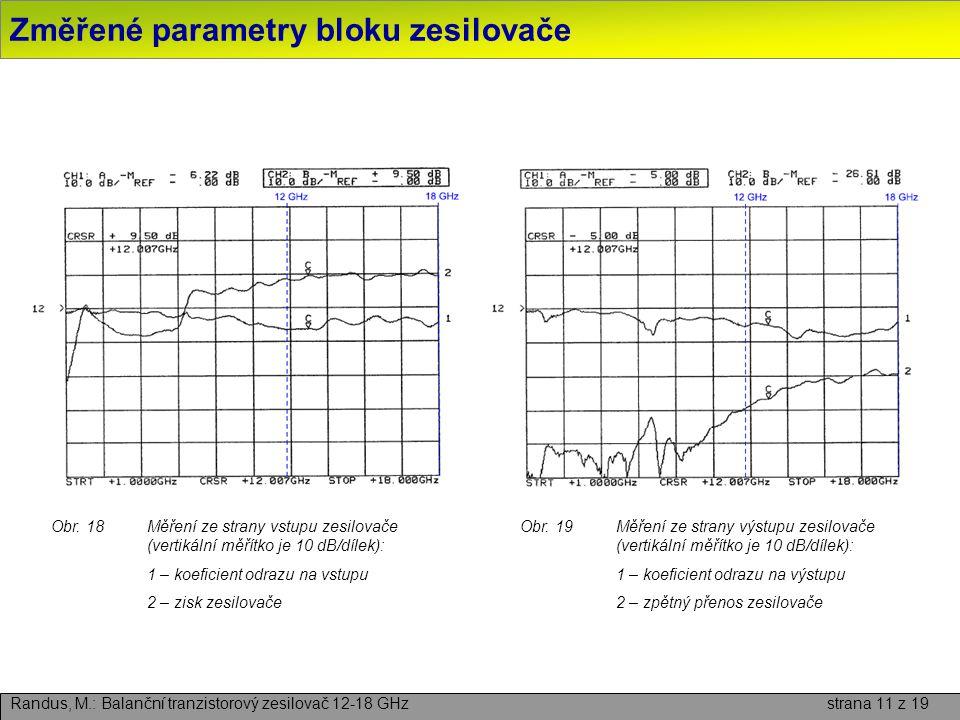 Změřené parametry bloku zesilovače Randus, M.: Balanční tranzistorový zesilovač 12-18 GHz strana 11 z 19 Obr. 18Měření ze strany vstupu zesilovače (ve