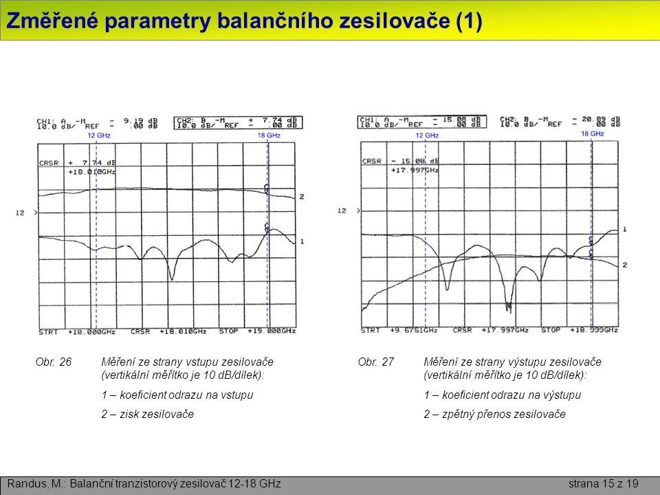 Změřené parametry balančního zesilovače (1) Randus, M.: Balanční tranzistorový zesilovač 12-18 GHz strana 15 z 19 Obr. 26Měření ze strany vstupu zesil