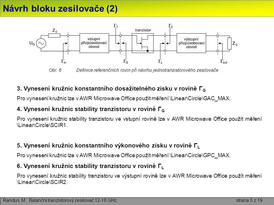 Návrh bloku zesilovače (2) Randus, M.: Balanční tranzistorový zesilovač 12-18 GHz strana 5 z 19 3. Vynesení kružnic konstantního dosažitelného zisku v