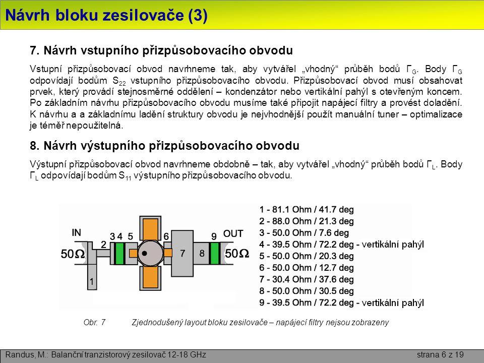Závěr Randus, M.: Balanční tranzistorový zesilovač 12-18 GHz strana 17 z 19 ■ Byl proveden návrh a realizace širokopásmového balančního tranzistorového zesilovače středního výkonu pro frekvenční pásmo 12 – 18 GHz.