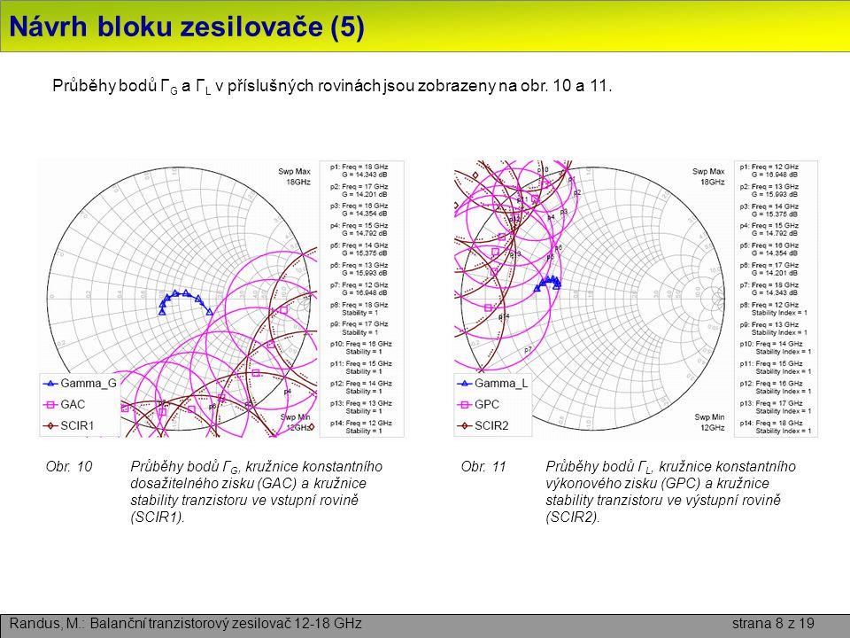 Návrh bloku zesilovače (5) Randus, M.: Balanční tranzistorový zesilovač 12-18 GHz strana 8 z 19 Průběhy bodů Γ G a Γ L v příslušných rovinách jsou zob
