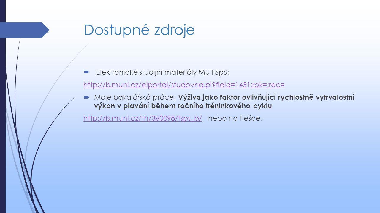 Dostupné zdroje  Elektronické studijní materiály MU FSpS: http://is.muni.cz/elportal/studovna.pl?field=1451;rok=;rec=  Moje bakalářská práce: Výživa