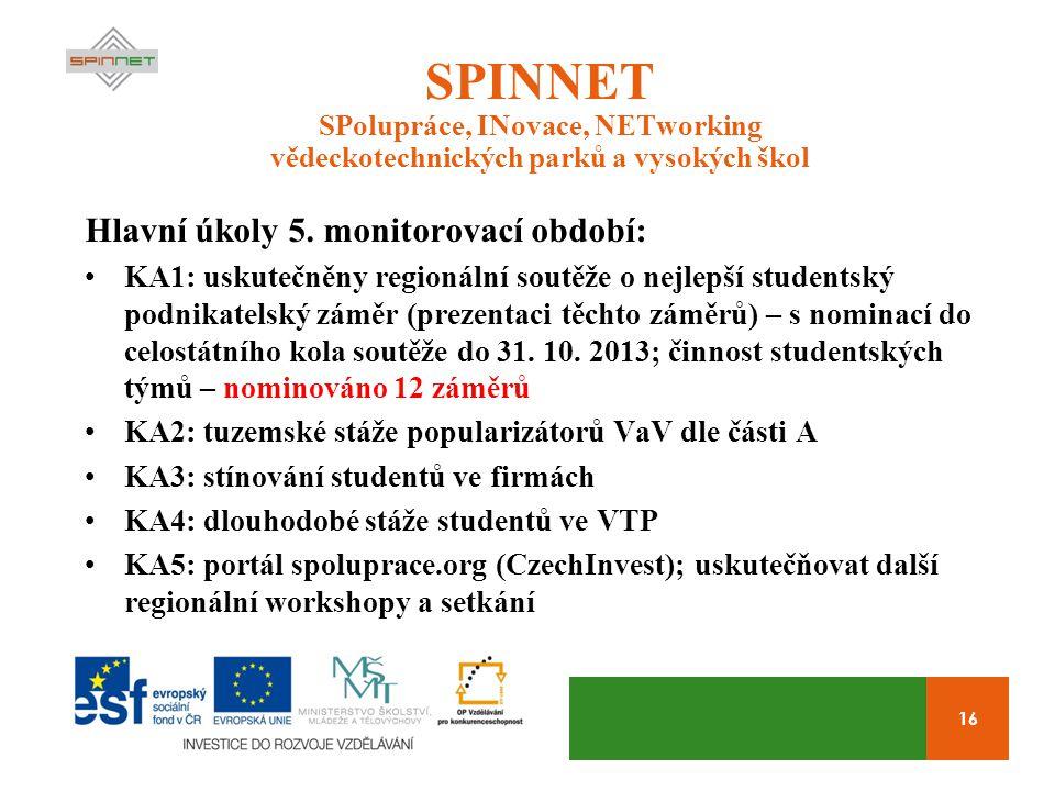 16 SPINNET SPolupráce, INovace, NETworking vědeckotechnických parků a vysokých škol Hlavní úkoly 5. monitorovací období: KA1: uskutečněny regionální s