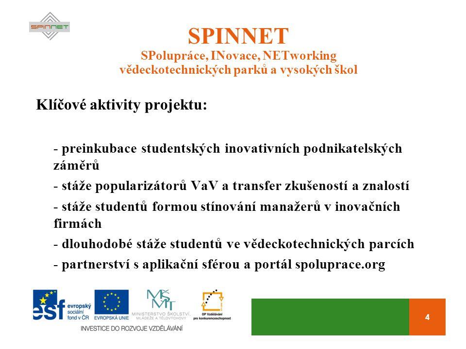 4 SPINNET SPolupráce, INovace, NETworking vědeckotechnických parků a vysokých škol Klíčové aktivity projektu: - preinkubace studentských inovativních