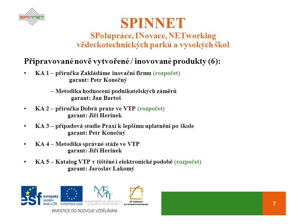 7 SPINNET SPolupráce, INovace, NETworking vědeckotechnických parků a vysokých škol Připravované nově vytvořené / inovované produkty (6): KA 1 – příruč