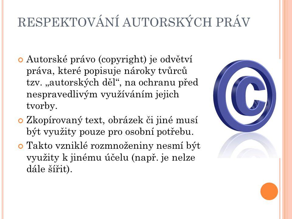 RESPEKTOVÁNÍ AUTORSKÝCH PRÁV Autorské právo (copyright) je odvětví práva, které popisuje nároky tvůrců tzv.