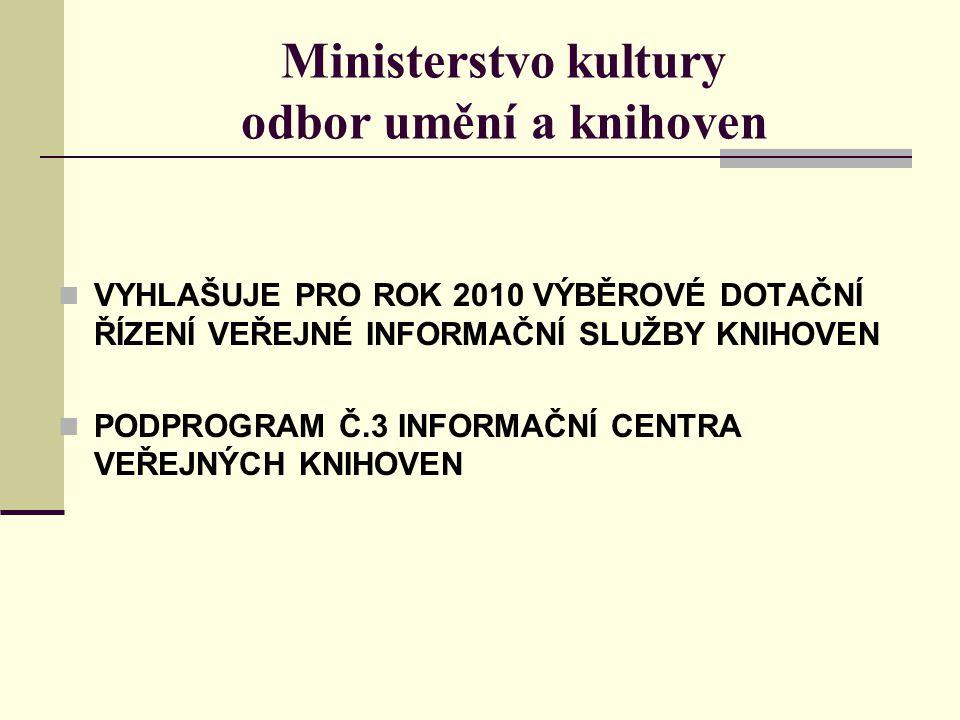 Ministerstvo kultury odbor umění a knihoven VYHLAŠUJE PRO ROK 2010 VÝBĚROVÉ DOTAČNÍ ŘÍZENÍ VEŘEJNÉ INFORMAČNÍ SLUŽBY KNIHOVEN PODPROGRAM Č.3 INFORMAČNÍ CENTRA VEŘEJNÝCH KNIHOVEN